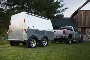 Somersong Forge Trailers:  The All Original Trailer Design -Size: 6'h x 7'L x 6'w -Includes standard features [above]  -Plus optional side marker lights [shown here] -Optional side out drawer feature