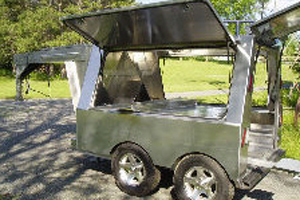 Somersong Forge Trailers:  Gooseneck Trailer Hitch System -Enclosed frame or simple frame features  -LP tanks and plumbing  -Shark hide [self etching enamel coating] as finish